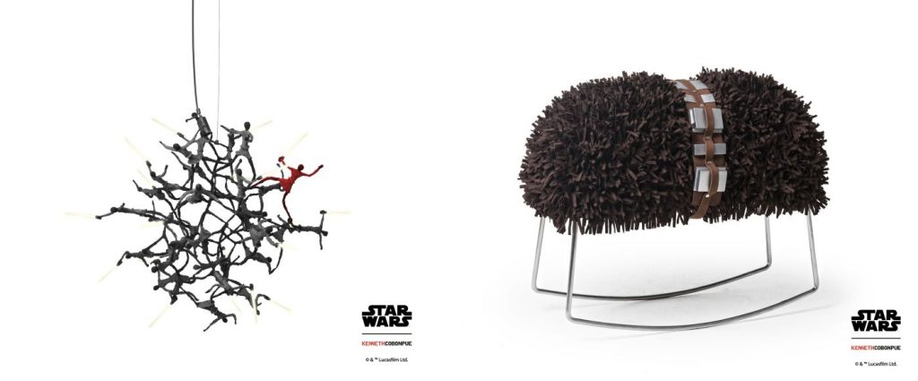 Modern Myths Nieuws 2020 Week 1 Star Wars Little Jedi lamp en Chewie schommelstoel