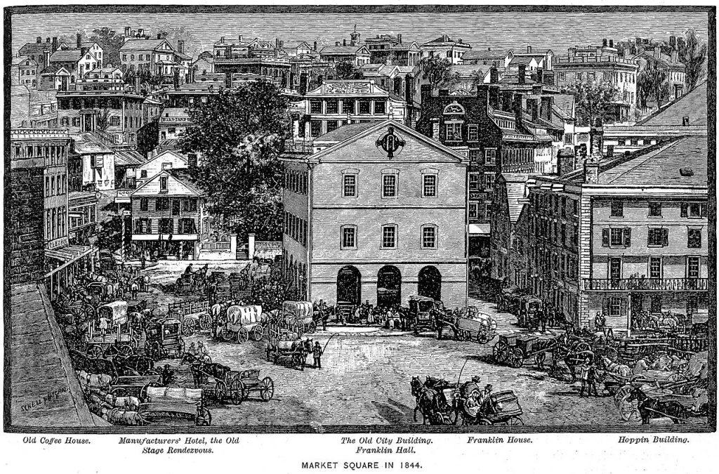Lovecraft achtergrond - Marktplein van Providence in 1844