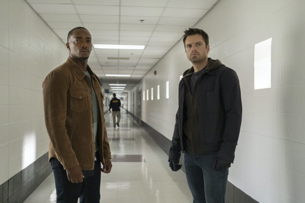 Anthony Mackie als Sam Wilson en Sebastian Stan als Bucky Barnes